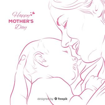 Fondo del día de la madre dibujado a mano