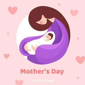 Fondo del día de la madre en diseño plano