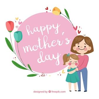 Fondo del día de la madre con familia feliz
