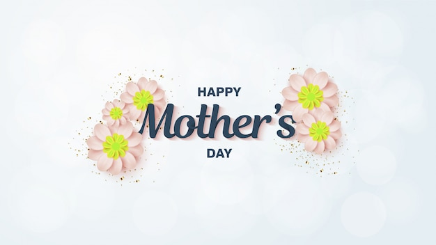 Fondo del día de la madre con flores blancas.