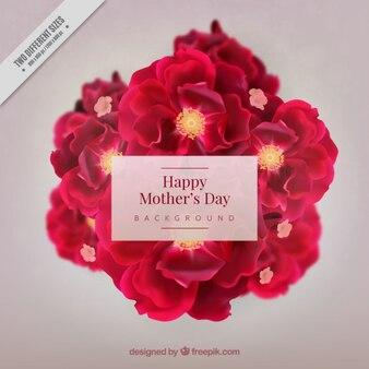 Fondo del día de la madre con flores realistas
