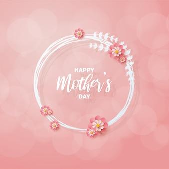 Fondo del día de la madre con ilustraciones de flores rosadas que rodean la escritura