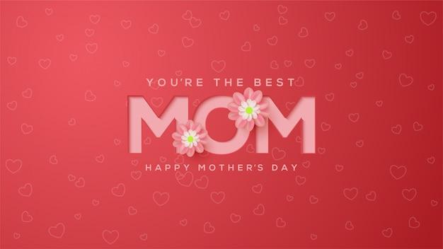 Fondo del día de la madre con ilustraciones en relieve de color rosa con flores de color rosa.