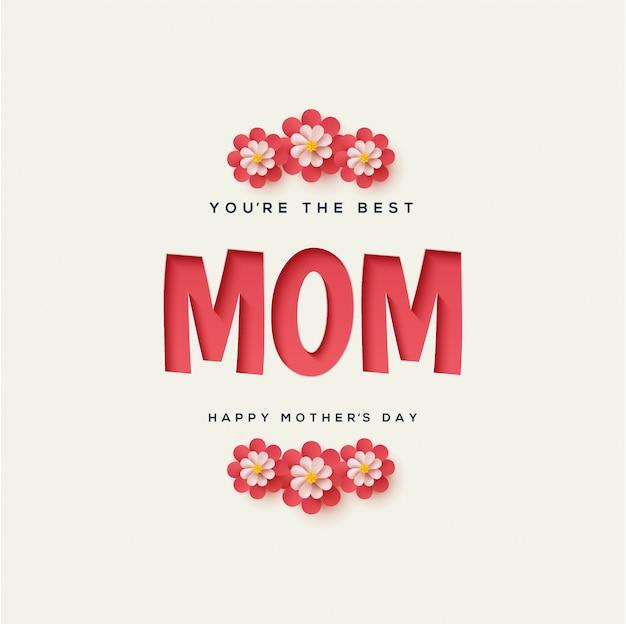 Fondo del día de la madre con ilustraciones de texto que aparecen en rojo