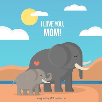 Fondo del día de la madre con lindos elefantes