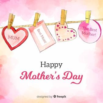Fondo día de la madre mensajes colgando
