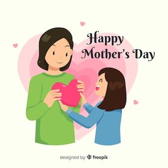 Fondo día de la madre niña dando regalo a su madre