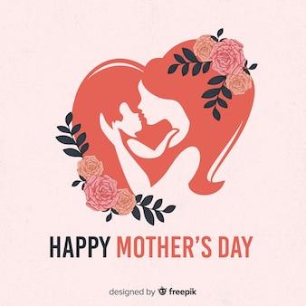 Fondo día de la madre siluetas