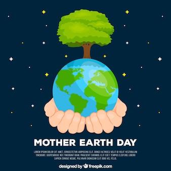 Fondo de día de la madre tierra con mundo en estilo plano