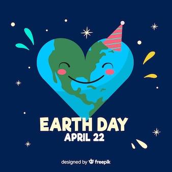 Fondo día de la madre tierra planeta con forma de corazón