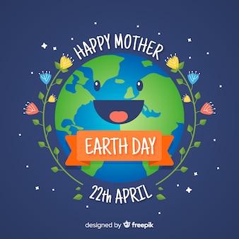 Fondo día de la madre tierra planeta plano sonriendo