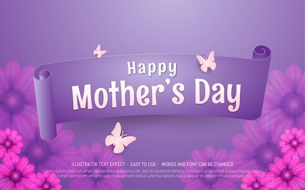 Fondo del día de las madres con cinta y mariposa de flores rosas