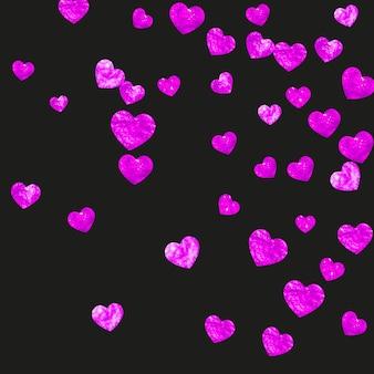 Fondo del día de las madres con confeti de brillo rosa.