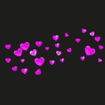 Fondo del día de las madres con confeti rosa brillo. símbolo de corazón aislado en color rosa. postal para el fondo del día de la madre. tema de amor para cupón, banner de negocios especiales. diseño de vacaciones para mujeres