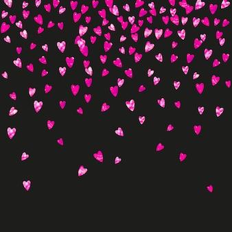 Fondo del día de las madres con confeti rosa brillo. símbolo de corazón aislado en color rosa. postal para el fondo del día de la madre. tema de amor para invitación a fiesta, oferta minorista y anuncio. diseño de vacaciones para mujeres
