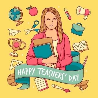 Fondo del día del maestro dibujado a mano