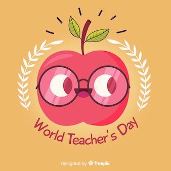 Fondo de día del maestro con manzana en diseño plano