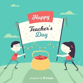 Fondo de día del maestro con niños y pancarta en diseño plano