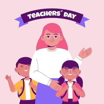 Fondo del día del maestro plano dibujado a mano