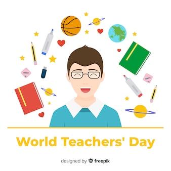 Fondo de día del maestro con profesor y elementos de colegio en diseño plano