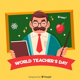 Fondo de día del maestro con profesor y pizarra