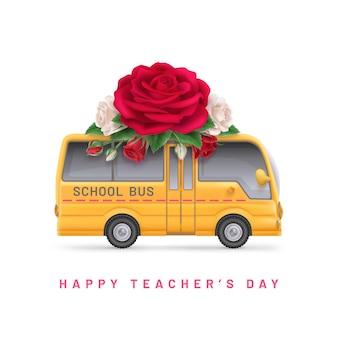 Fondo del día del maestro con rosa y autobús escolar.