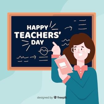 Fondo de día de maestros de diseño plano