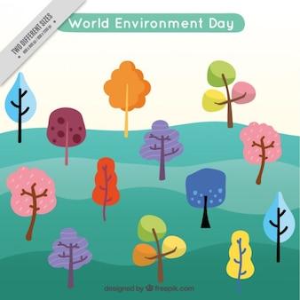 Fondo del día del medio ambiente con árboles coloridos
