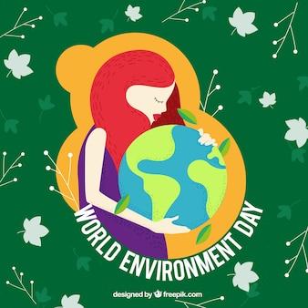 Fondo del día del medio ambiente  con mujer abrazando al mundo