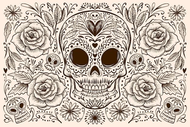 Fondo dia de muertos dibujado a mano