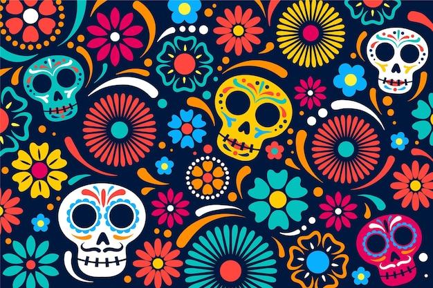 Fondo de dia de muertos en diseño plano