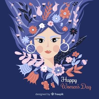 Fondo día de la mujer chica con pelo floral