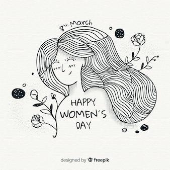 Fondo del día de la mujer dibujado a mano