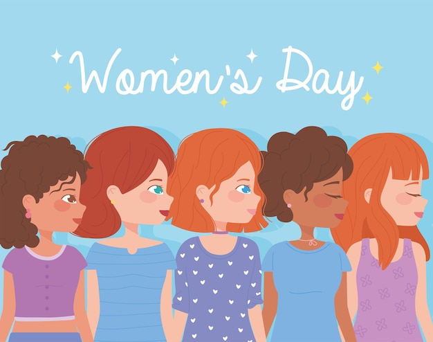 Fondo del día de la mujer con diversos personajes femeninos.