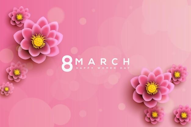 Fondo del día de la mujer con flores de loto y números.