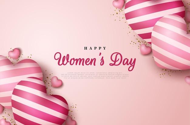 Fondo del día de la mujer con globos de amor.