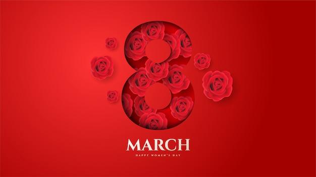 Fondo del día de la mujer con la ilustración número 8 y flores ramas y hojas.
