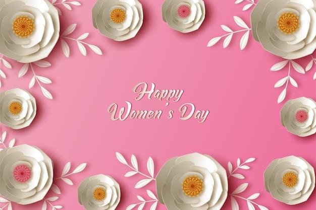 Fondo del día de la mujer con letras blancas y la flor blanca