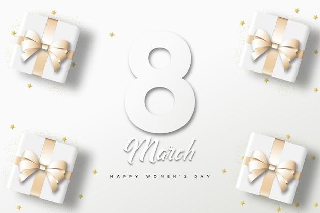 Fondo del día de la mujer con números y caja de regalo sobre fondo blanco.