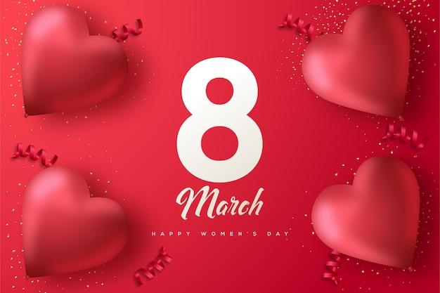 Fondo del día de la mujer con números y globos de amor sobre fondo rojo.