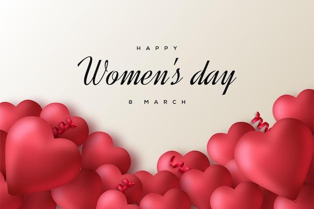Fondo del día de la mujer con números y globos de amor.