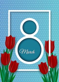 Fondo del día de la mujer, pancartas, folleto del día de la mujer, diseño del día de la mujer con tulipanes rojos sobre fondo azul
