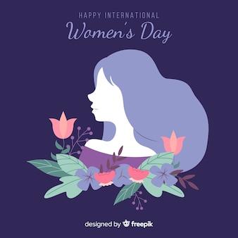 Fondo día de la mujer silueta de chica con flores