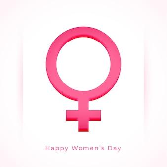 Fondo del día de la mujer con símbolo femenino en estilo papel