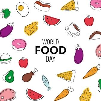 Fondo del día mundial de la alimentación dibujado a mano