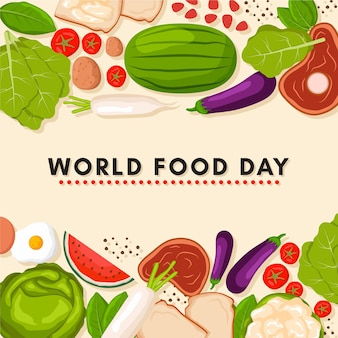 Fondo del día mundial de la alimentación en diseño plano
