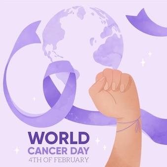 Fondo del día mundial del cáncer en acuarela