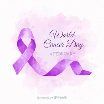 Fondo del día mundial contra el cáncer en acuarela