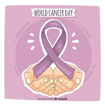 Fondo del día mundial contra el cáncer dibujado a mano