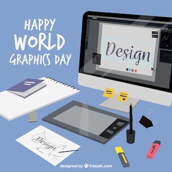 Fondo de día mundial de los gráficos con escritorio vector gratuito